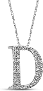 10K White Gold Diamond Initial Pendant Necklace