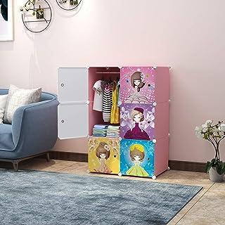 Keshav International 6 Door Plastic Sheet Wardrobe Storage Rack Closest Organizer for Clothes Kids Living Room Bedroom Sma...