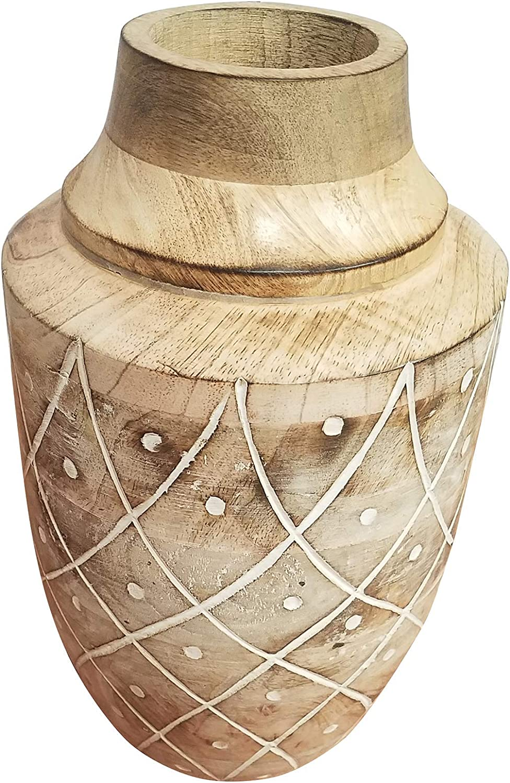 Modern Rustic Carved Boho Manufacturer OFFicial free shipping shop Wood Fancy Kitchen Vase Tab Decor Home