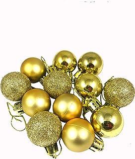 Evisha 12 Pcs Golden Small Balls for Christmas Tree Decoration Hanging Ornaments