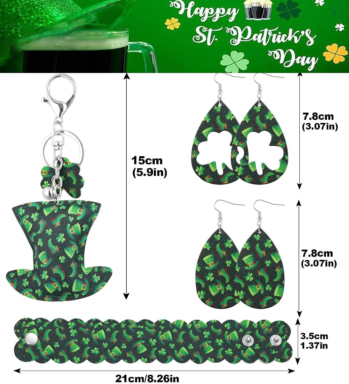 St.Patrick's Day Jewelry Set for Women Shamrock Clover Print Faux Leather Earrings for Women Irish Green Bracelet Hat Shaped Keychain Holiday Jewelry