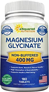Sponsored Ad - Magnesium Glycinate 400mg - 180 Tablets - Max Strength Magnesium Bisglycinate Supplement - Maximum Bioavail...