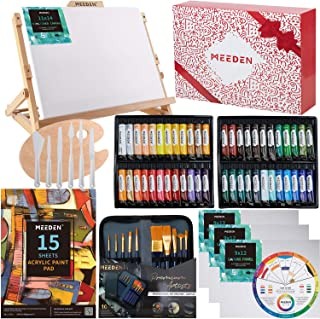 MEEDEN 72-Piece Acrylic Painting Set with Beech Wood Table Easel, 48×22ML Acrylic Paint Set and All Additional Supplies, A...