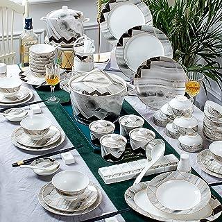 Wyxy 100 PCS Bone China Vaisselle Style Européen Or Bordure Marbre Texture Vaisselle Céramique Gâteau Plat Steak Dîner Ass...