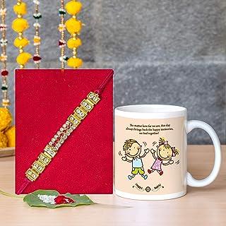 TIED RIBBONS Rakhi for Brother Combo (Designer Rakhi, Printed Coffee Mug, Rakshabandhan Special Card)