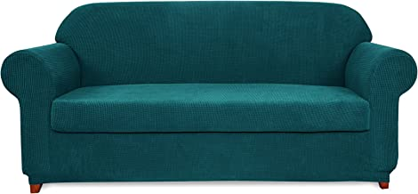 subrtex 2-Piece Jacquard High Stretch Slipcover, Furniture Protector for Conventional Settee Spandex Washable Common Armchair Cushion Couch Sofa Cover Coat (Large, Turquoise)