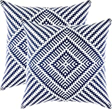 TreeWool Decorative Square Throw Pillowcases Set Kaleidoscope Accent 100% Cotton Cushion Cases Pillow Covers (20 x 20 Inches / 50 x 50 cm; Navy Blue & White) - Pack of 2
