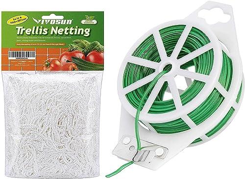 discount VIVOSUN Heavy-Duty Polyester 2021 Plant Trellis Netting 5 x 15ft and 64 Feet Twist Tie Roll Spool Dispenser w/Cutter wholesale Secure Garden Plant outlet online sale