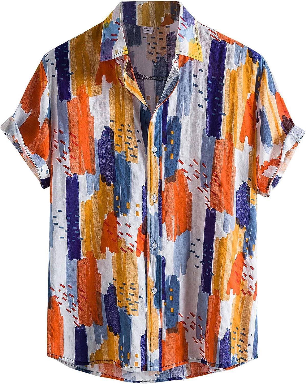 FUNEY Mens Linen Shirt Short Sleeve Cuban Beach Tops Pocket Henley Cotton T-Shirt Regular-Fit Summer Casual Guayabera Shirts