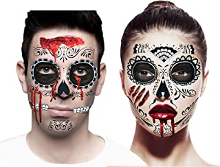 Sugar Skull Zombie Makeup & Temporary Tattoos Costume Accessories Set for Couples (Set of 2 Halloween Day of The Dead Face Tattoos, Traditional & Glitter Web Designs, with Makeup Kit and Fake Blood)