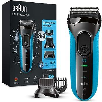 Braun Series 3 Rasierer Herren, 3-in-1-Elektrorasierer, Barttrimmer mit 5 Kammaufsätzen, Wet&Dry, 45 Minuten Akkulaufzeit, wiederaufladbarer und kabelloser elektrischer Rasierer, schwarz/blau