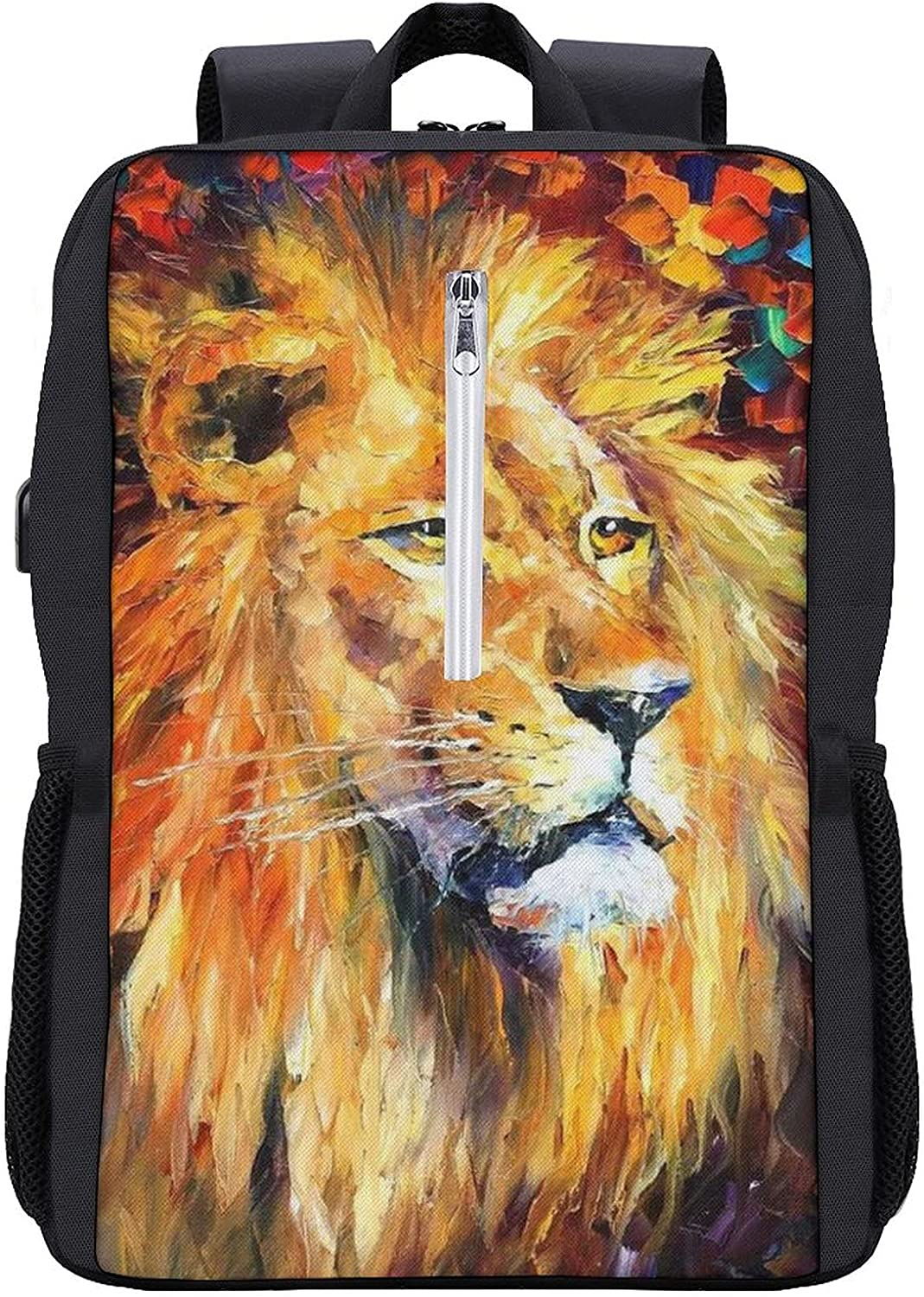 Oil Weekly update Cheap bargain Painting Lion Laptop Backpack Bag Durable Resistant Water