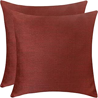 The White Petals Brick Red Throw Pillow Covers - Luxurious, Elegant & Decorative (16x16 inch, Pack of 2)