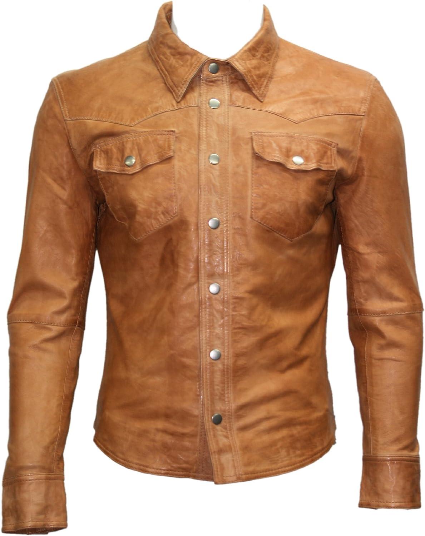 Men's Tan Adjustable Collar Casual Retro Soft Real Leather Shirt Jacket M114