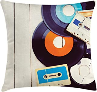 Ambesonne Indie Throw Pillow Cushion Cover, Gramophone Records and Old Audio Cassettes on Wooden Table Nostalgia Music, Decorative Square Accent Pillow Case, 24