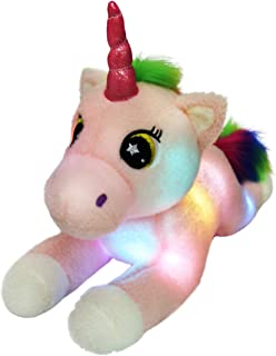 Bstaofy LED Unicorn Stuffed Animals Glow Adorable Plush Toys with Rainbow Mane and Tail Gifts for Kids on Xmas Halloween Birthday Festival Occasions, 16 Inch (Pink)
