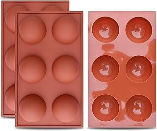 homEdge Molde grande de silicona semiesfera de 6 cavidades, 3 paquetes de moldes para hornear para hacer chocolate, pastel, gelatina y mousse de cúpula
