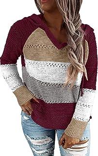 BUOYDM Femme Sweat à Capuche Manches Longues Pull Haut à col en V à Rayures Hooded Sweater Pullover
