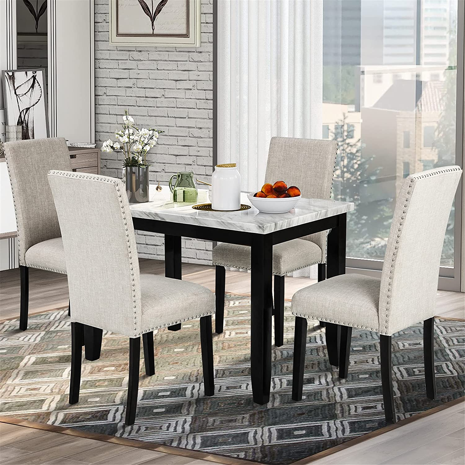 Animer and price revision 5-Piece Dining Table Set 4 Rectangular with Thicke Fashion