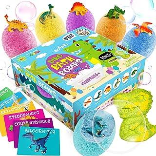 Dino Egg Bath Bombs with Surprise Inside for Kids Dinosaur in Each Fizz Egg Surprise Eggs – Dino bomb for Bonus - With Lea...