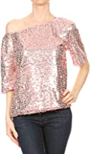 ANNA-KACI Womens Short Sleeve One Shoulder Sexy Sequin Top Blouse