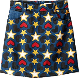 Heart and Star Printed Denim Skirt (Little Kids/Big Kids)