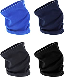 T4 Pieces Fleece Neck Warmer Winter Scarf Multifunctional Headgear for Windproof Dust Skiing Hiking Cycling