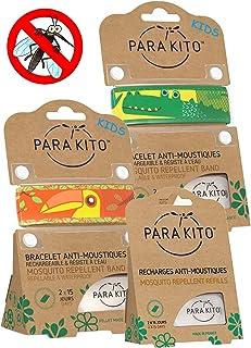 Parakito - Modelo para NIÑO - PROTECCION NATURAL ANTIMOSQUITO - KIT 2 x Para'kito PULSERA repelente de mosquitos (Orange et verde) + 1 x Recarga Para'kito Para Pulsera