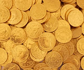 LaetaFood Gold Coins Milk Chocolate Candy, Half Dollar Candy (2 Pounds Bag)