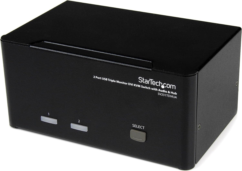 StarTech.com 2 Port Triple Monitor DVI USB KVM Switch with Audio & USB 2.0 Hub - Multi Monitor KVM - Dual Port KVM Switch (SV231TDVIUA),Black