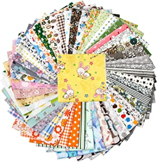 50 Pieces 9.8 inches x 9.8 inches (25cm x 25cm), Handmade Fabric, Hand Stitching  Cotton Craft Fabric Square Patchwork DI...