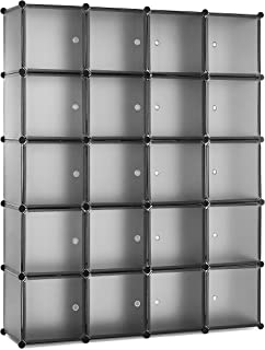 Meerveil Armoire Penderie Portable Étagère de Rangement Cubes de Stockage Modulaire en Plastique en métal Stable, Assembla...
