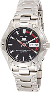 Seiko Men's Black Dial Stainless Steel Band Watch - SNZ449J1