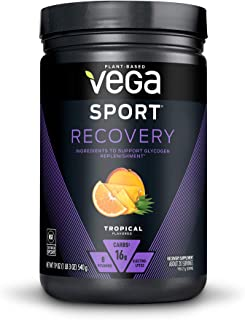Vega Sport Recovery, Tropical - Post Workout Recovery Drink Mix with Electrolytes, Carbohydrates, B-Vitamins and Protein, ...