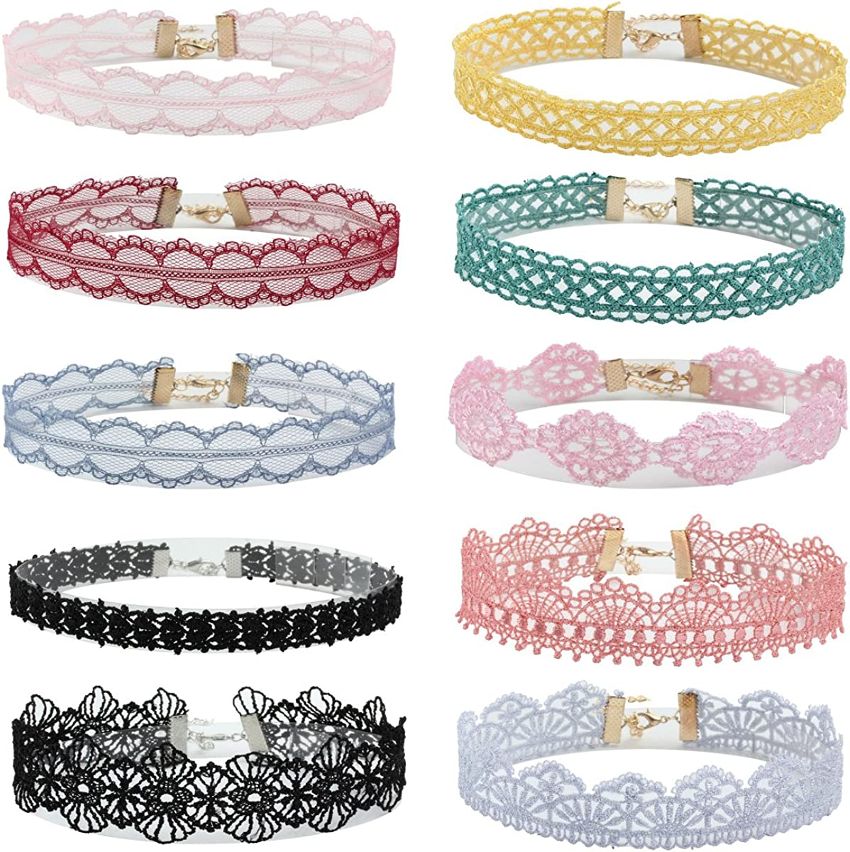 Milakoo 10 Pcs Lace Floral Choker for Women Gothic Tattoo Choker Collar Lace Necklace Adjustable