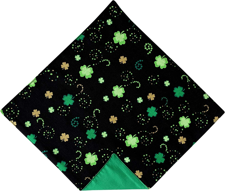 Holiday Bow Ties Mens St. Patrick's Black & Green Shamrocks Pocket Square