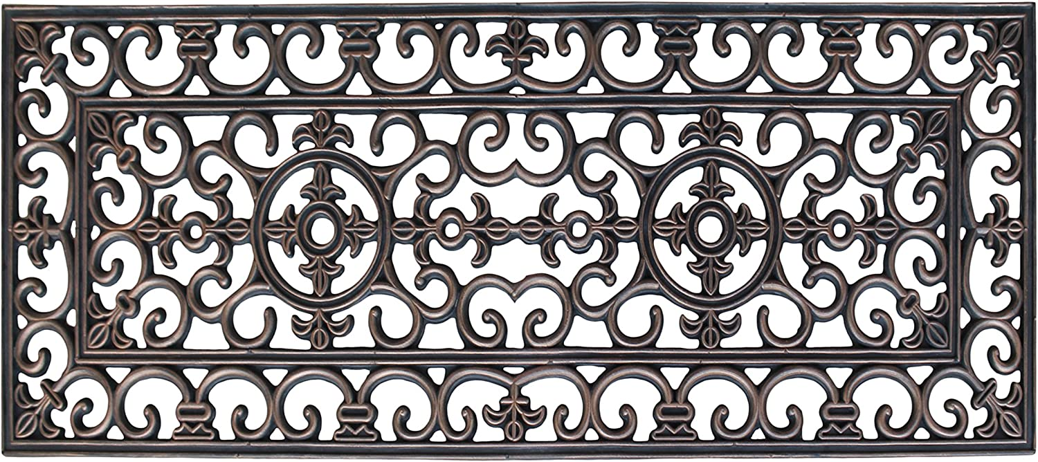 A1 HOME COLLECTIONS A1HOME200093 Rubber Grill Elegant Double Doormat, 17.7  L x 47  W