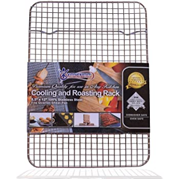 """KITCHENATICS Commercial Grade 100% Stainless Steel Cooling Rack Thick-Wire Grid Fits Quarter Sheet Baking Pan Oven & Grill Safe Rust-Proof for Roasting, Cooking, Baking, BBQ, Heavy Duty -8.5"""" x 12"""""""