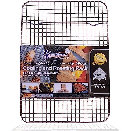 Kitchenatics Volette de Refroidissement et Cuisson en Acier 100 % Inoxydable – Idéal pour Pâtisserie et Cuisson au Four. Grille Robuste Résistant à la Rouille (21,6 x 30,48 CM)