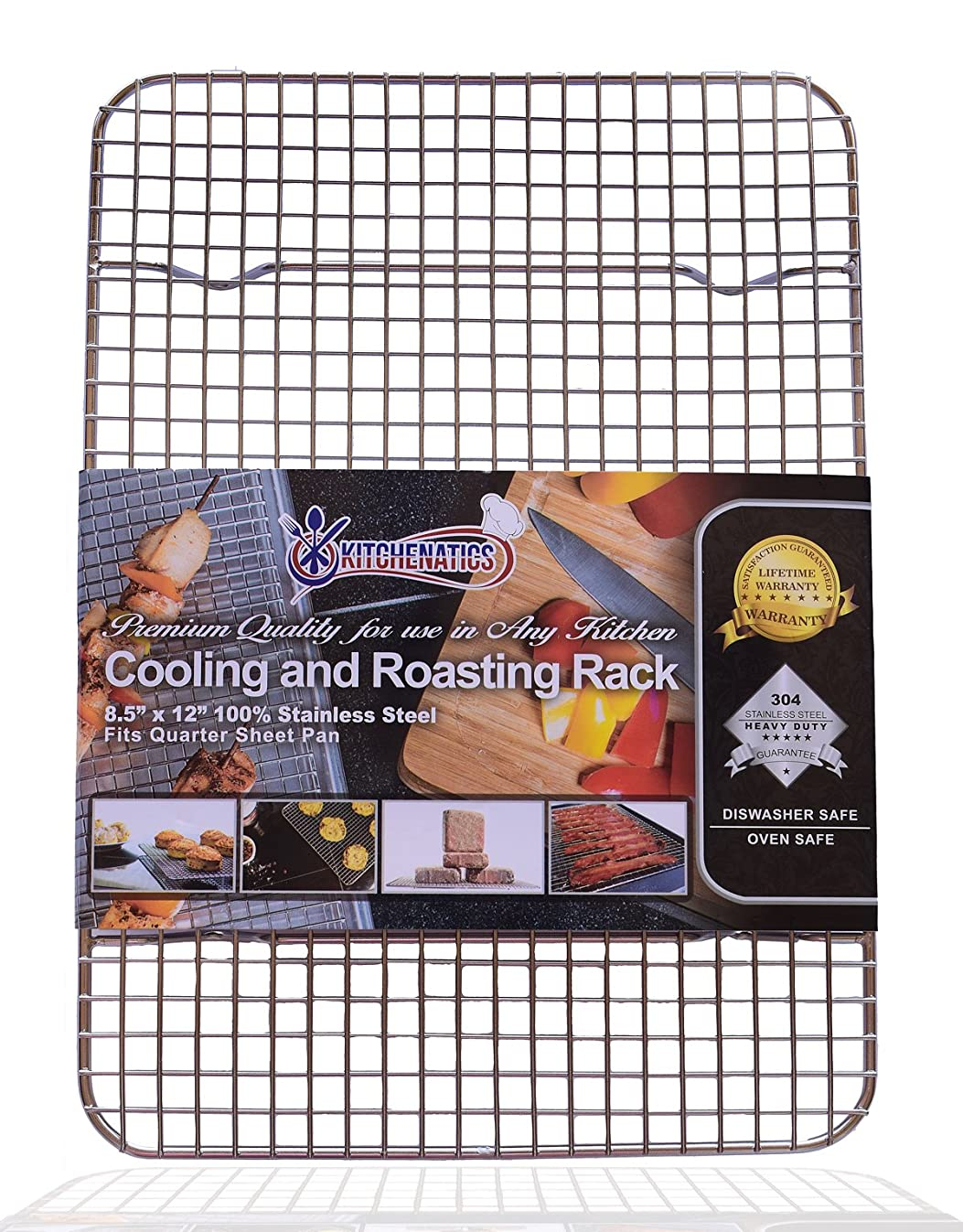 """KITCHENATICS 100% Stainless Steel Wire Cooling and Roasting Rack Fits Quarter Sheet Size Baking Pan, Oven Safe, Commercial Quality, Heavy Duty for Cooking, Roasting, Drying, Grilling (8.5"""" X 12"""")"""
