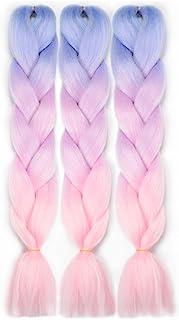 VCKOVCKO Pink Jumbo Braid Crochet Braids Hair Extension Three Tone Ombre Color Rainbow..