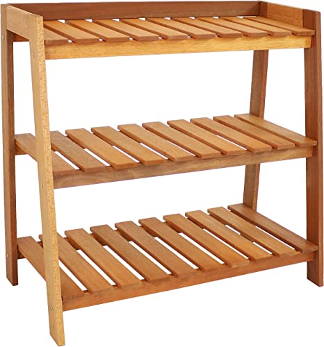 lowest Sunnydaze Outdoor Meranti Wood new arrival Garden Shelf with Teak Oil Finish - Modern new arrival Decorative 3-Tiered Wooden Standing Plant Shelf - Perfect for Patio Storage and Organizing Garden Items and Plant Accessories outlet online sale
