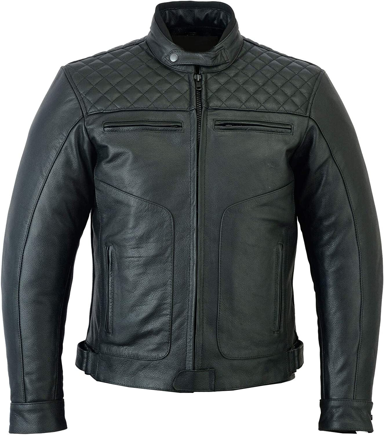 Mens Quilted Cafe Racer Motorcycle Black Armored Padded Biker Cowhide Leather Jacket