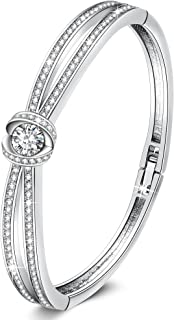 """GEORGE · SMITH Crystal Bangle Bracelet for Women """"Encounter of Love"""" 7 Inches White Gold Plated Charm Bracelets with Swarovski Crystals, Jewelry Gifts for Women Girls"""