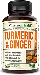 Turmeric Curcumin with Ginger, 95% Curcuminoids with BioPerine. Tumeric Supplements, Occasional Joint Pain Relief, Inflamm...