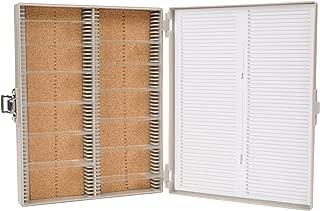 "Heathrow Scientific HD15994F Gray Cork Lined 100 Place Microscope Slide Box, 8.25"" Length x 7"" Width x 1.3"" Height"