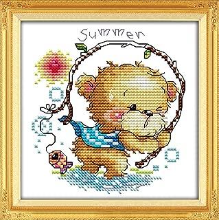 YEESAM ART New Cross Stitch Kits Advanced Patterns for Beginners Kids Adults - Four Seasons Little Bear-Summer 11 CT Stamped 20x20 cm - DIY Needlework Wedding Christmas Gifts