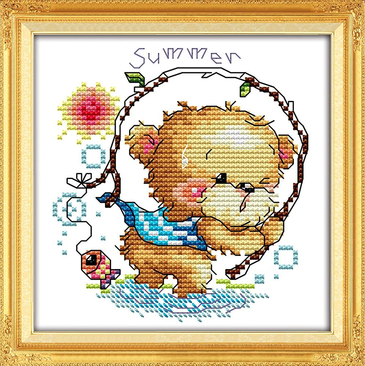 YEESAM ART New Cross Stitch Kits Advanced Patterns for Beginners Kids Adults - Four Seasons Little Bear-Summer 11 CT Stamped 20x20 cm - DIY Needlework Wedding Christmas Gifts