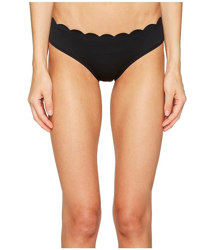Kate Spade New York Core Solids #79 Scalloped Hipster Bikini Bottom (Black) Women