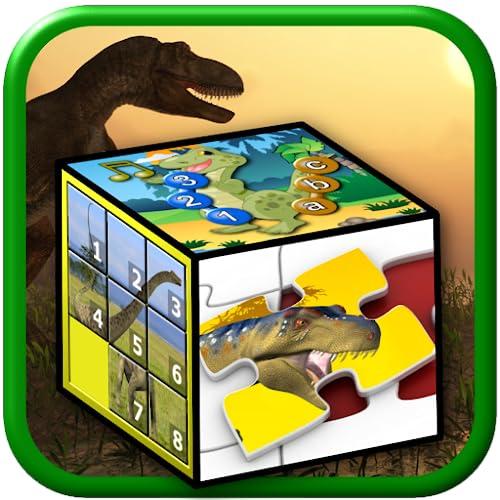 Crianças dinossauro quebra-cabeças e jogos de número - ensina as crianças as letras do alfabeto contando e quebra-cabeças formas apto para pré-escolar jardim de infância de
